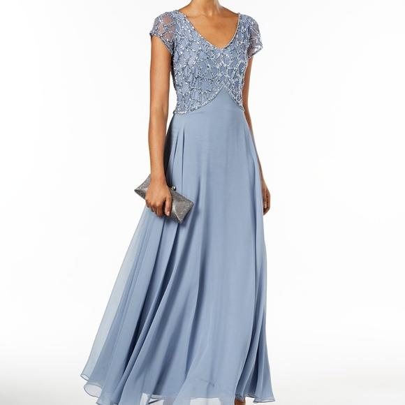 14f8c1d9499 J Kara Embellished-Bodice Gown Dusty Blue Size 10